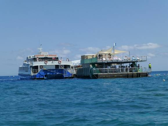 docking place for boats at the great barrier reef