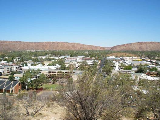 Anzac hill overlooking to Alice Springs