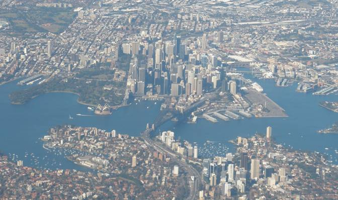 view of Sydney from air