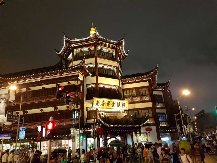 the old city of Shanghai at night