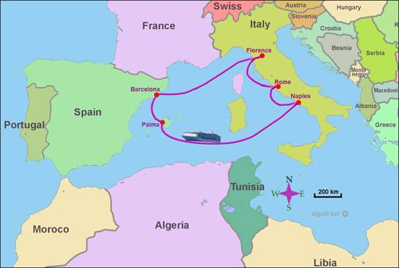 Map of cruise in the Western Mediterranean