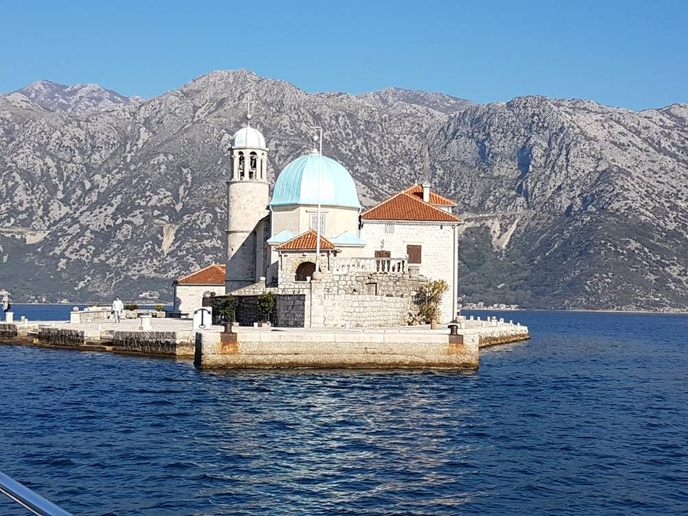 the artificial island in Perast