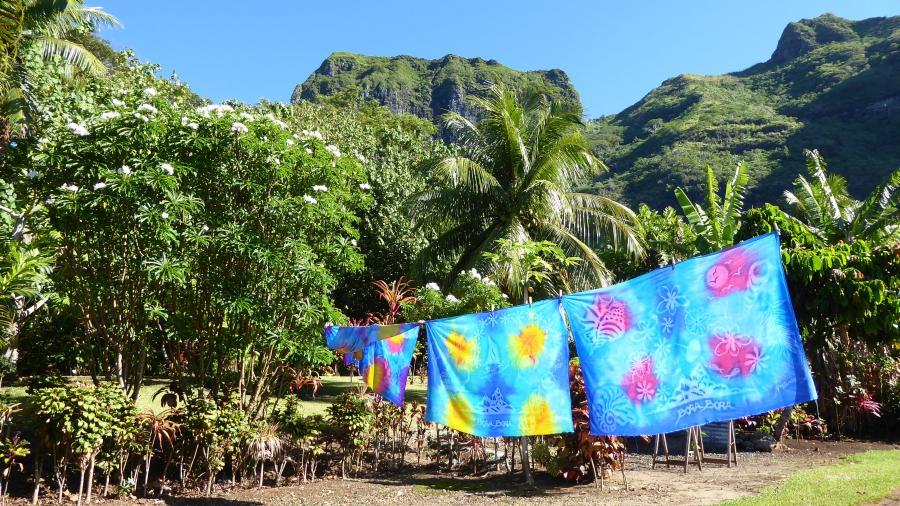 painted fabrics on the background of the mountain in Bora Bora