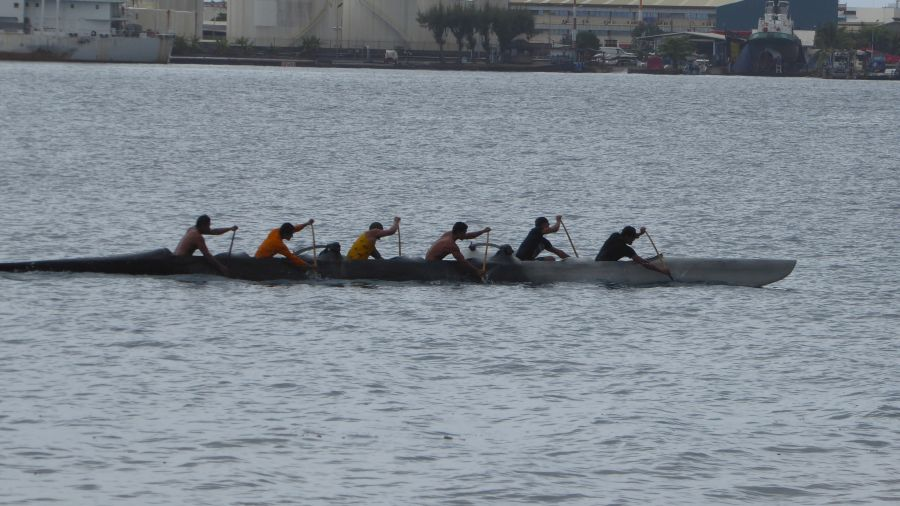 Rowing in a canoe in Papeete