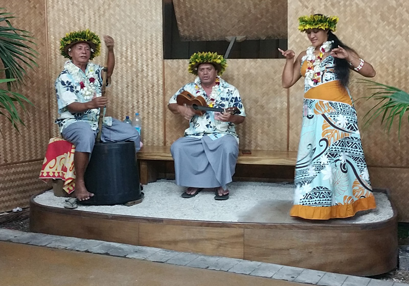 singing and dancing at the airport in Tahiti