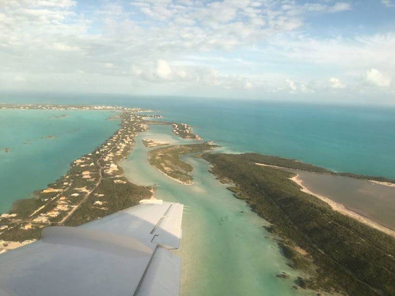The view from a flight over the Turks and Caicos Islands
