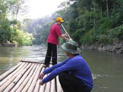river tour on bamboo raft